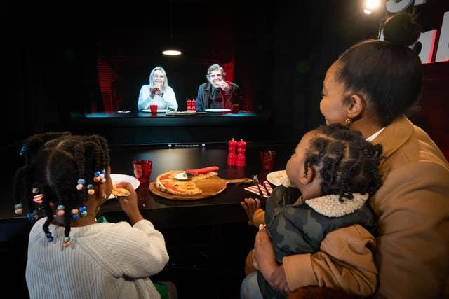 Families in London and Edinburgh were able to see one and other in life-size 3D using holographic technology