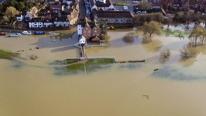 Flood water still surrounds Tewkesbury in Gloucestershire after the recent rain from storm Brendan. (Photo by Steve Parsons/PA Images via Getty Images)