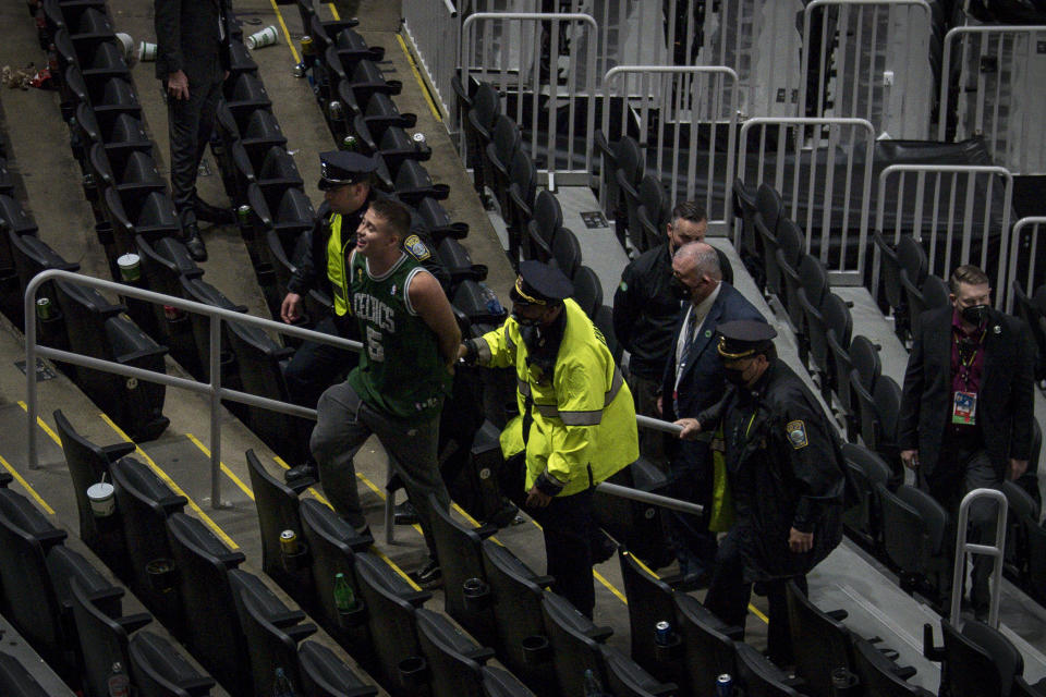 Police arrested Cole Buckley, 21, for allegedly throwing a water bottle at Brooklyn Nets star Kyrie Irving after Game 4 of their first-round playoff series with the Boston Celtics. (Maddie Malhotra/Getty Images)