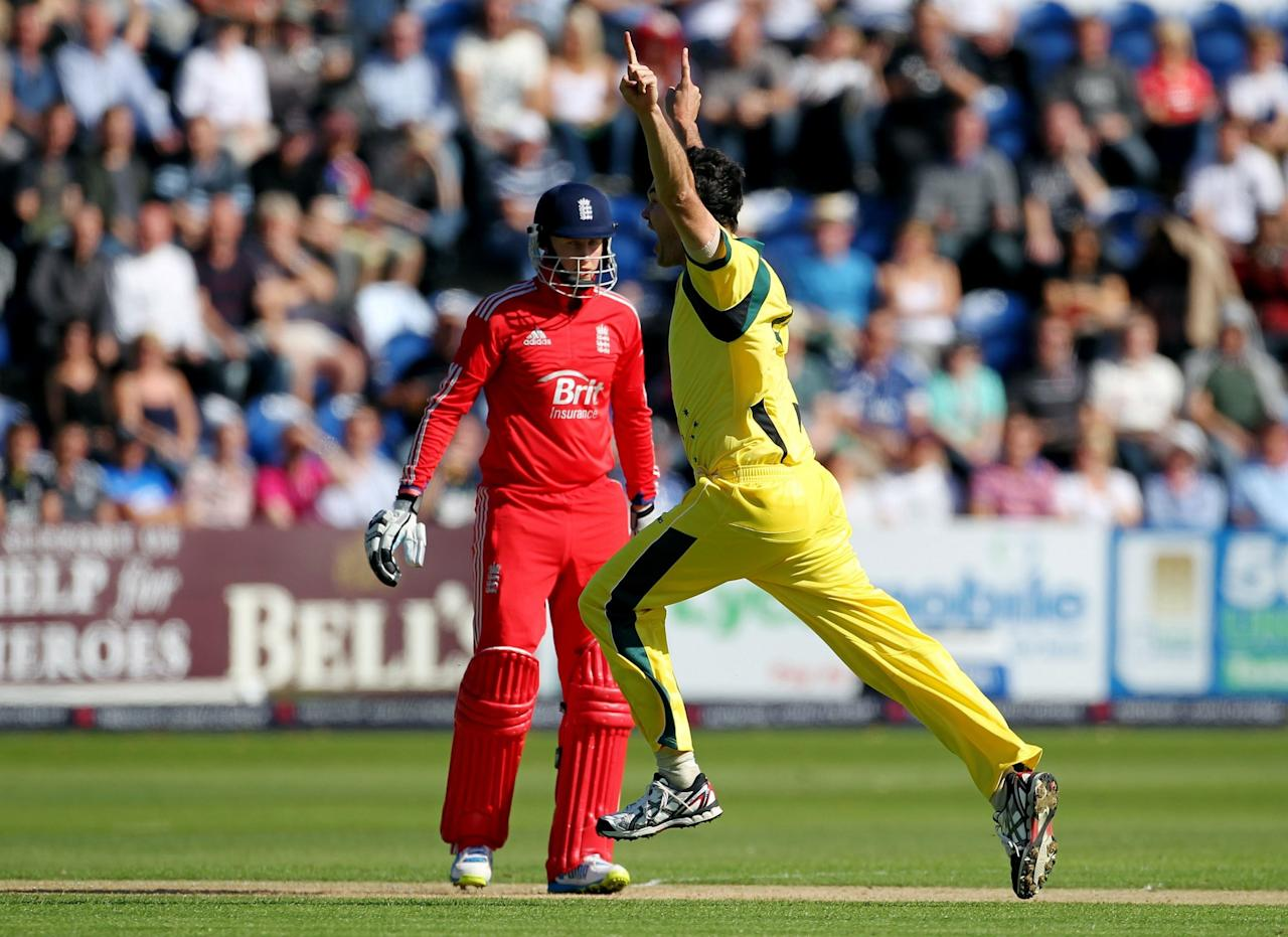 Australia's Clint Mackay celebrates taking the wicket of England's Joe Root during the fourth one day international at the SWALEC Stadium, Cardiff.