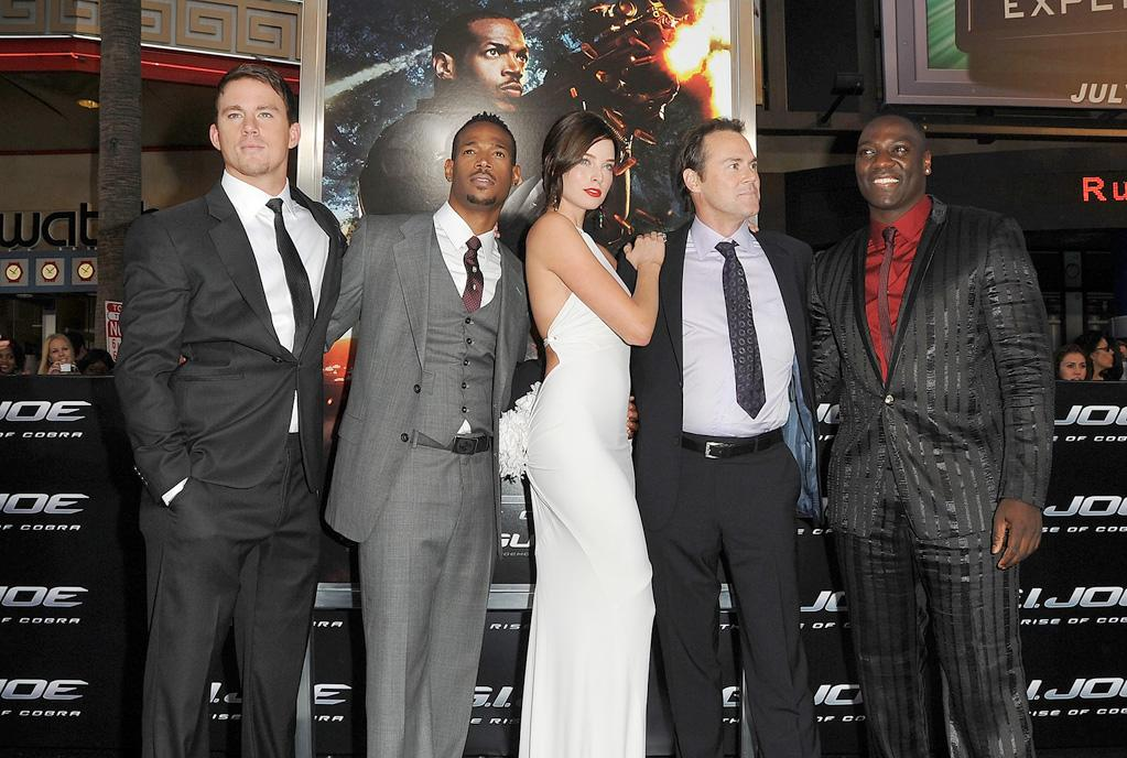 "<a href=""http://movies.yahoo.com/movie/contributor/1808597021"">Channing Tatum</a>, <a href=""http://movies.yahoo.com/movie/contributor/1800026089"">Marlon Wayans</a>, <a href=""http://movies.yahoo.com/movie/contributor/1807799855"">Rachel Nichols</a>, <a href=""http://movies.yahoo.com/movie/contributor/1800025881"">Stephen Sommers</a> and <a href=""http://movies.yahoo.com/movie/contributor/1808642745"">Adewale Akinnuoye-Agbaje</a> at the Los Angeles premiere of <a href=""http://movies.yahoo.com/movie/1809993532/info"">G.I. Joe: The Rise of Cobra</a> - 08/06/2009"
