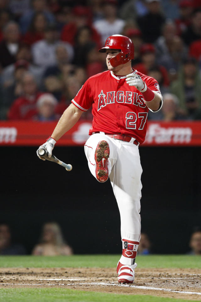 Los Angeles Angels' Mike Trout reacts after striking out during the third inning of the team's baseball game against the Houston Astros on Tuesday, May 15, 2018, in Anaheim, Calif. (AP Photo/Jae C. Hong)