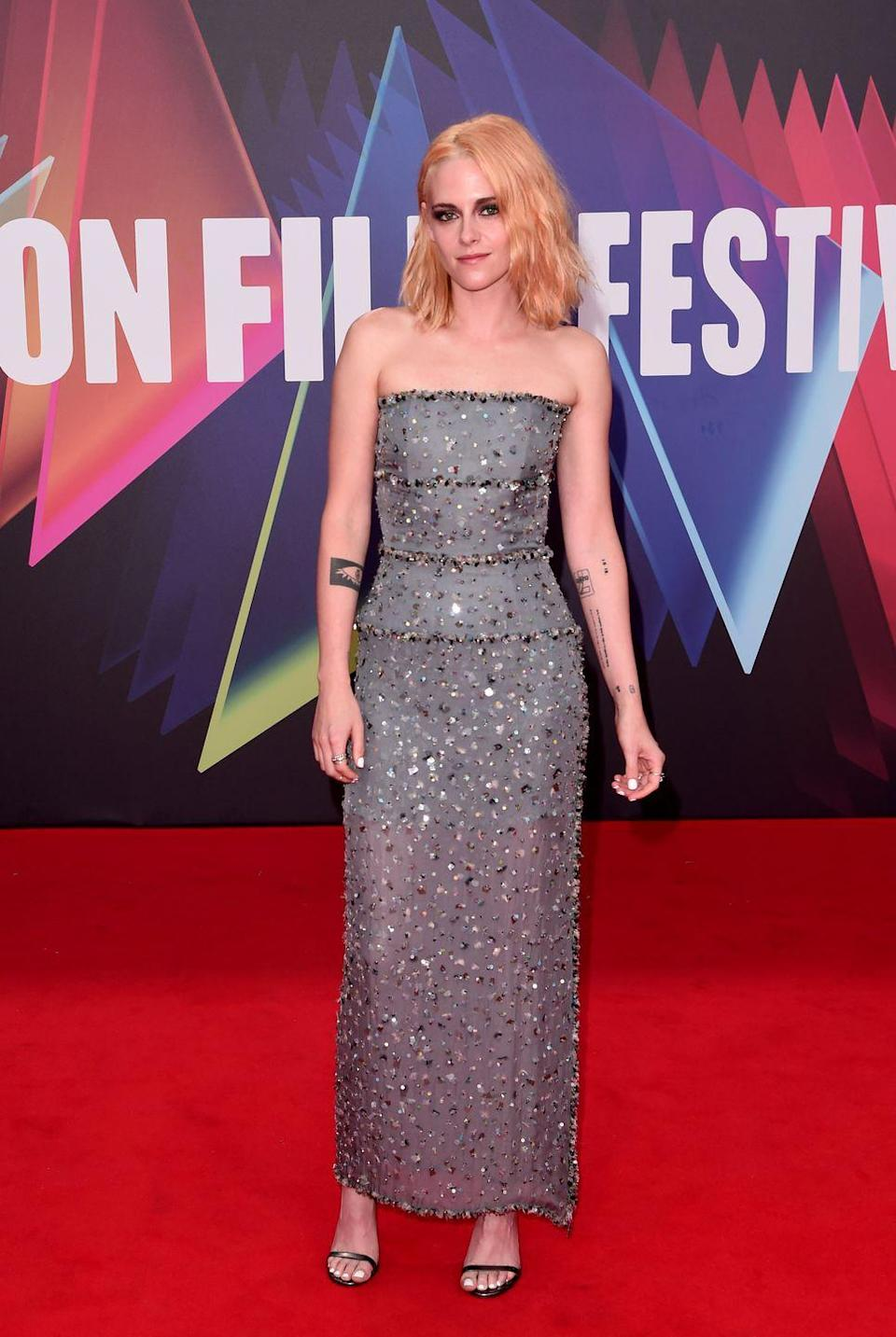 <p><strong>7 October</strong><br></p><p>Kristen Stewart wore a gunmetal Chanel column dress covered in glittering sequins for the London Film Festival premiere of Spencer.</p>