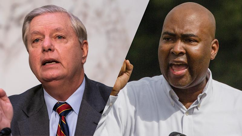 Senate Judiciary Chairman Lindsey Graham (R-SC) /Jaime Harrison, a Democratic U.S. Senate candidate (Demetrius Freeman/AFP via Getty Images; Micah Green/Bloomberg via Getty Images)