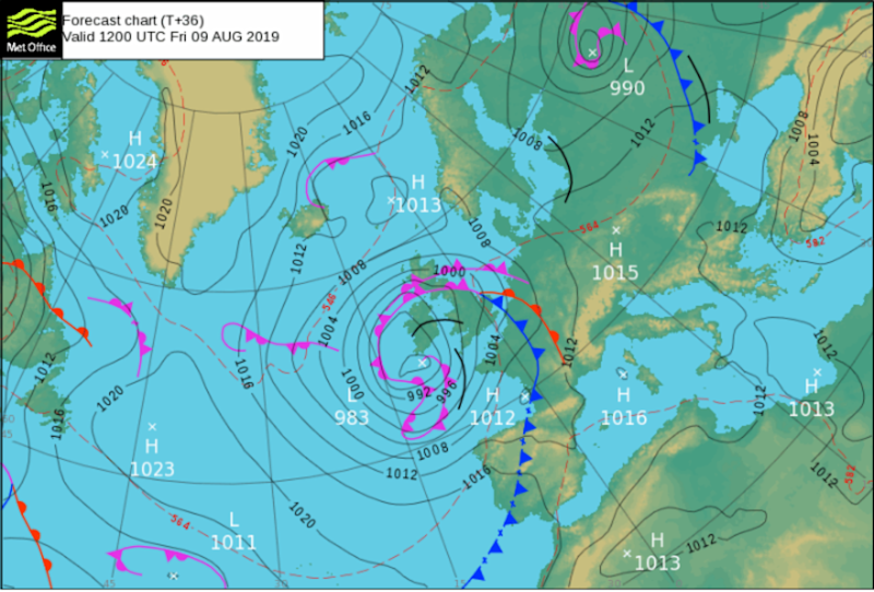 A low pressure system will bring bad weather to the majority of the UK this weekend (MET OFFICE)