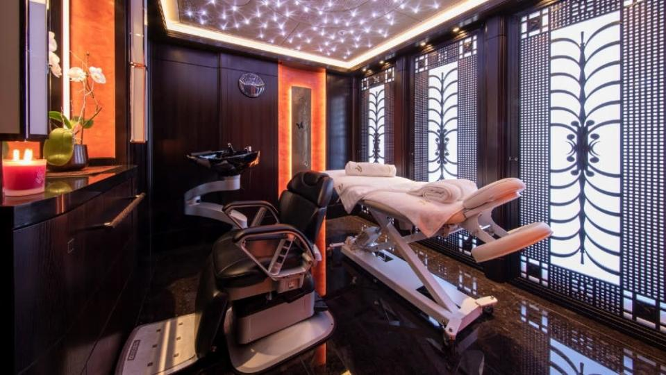 A massage room in the yacht's wellness center. - Credit: Courtesy Dynamiq/YachtShot