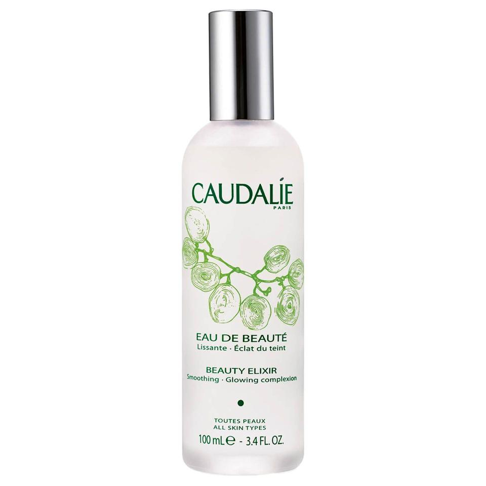 """<p><strong>Caudalie</strong></p><p>sephora.com</p><p><strong>$18.00</strong></p><p><a href=""""https://go.redirectingat.com?id=74968X1596630&url=https%3A%2F%2Fwww.sephora.com%2Fproduct%2Fbeauty-elixir-P6025&sref=https%3A%2F%2Fwww.marieclaire.com%2Fbeauty%2Fg36111345%2Fface-mists%2F"""" rel=""""nofollow noopener"""" target=""""_blank"""" data-ylk=""""slk:SHOP IT"""" class=""""link rapid-noclick-resp"""">SHOP IT</a></p><p>A cult classic! It'll tighten up pores for a smoother surface for foundation, and its signature scent comes from essential oils like mint, rose, and rosemary to invigorate skin. </p>"""