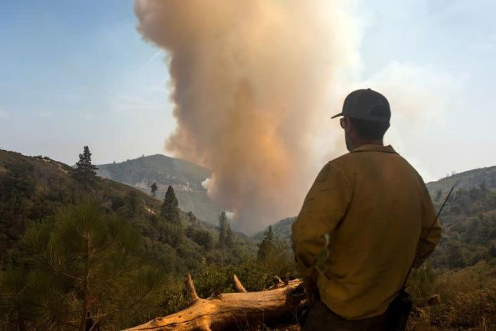 FILE PHOTO: A firefighter watches as smoke rises from a wildfire burning in the Angeles National Forest. during the Bobcat Fire in Los Angeles