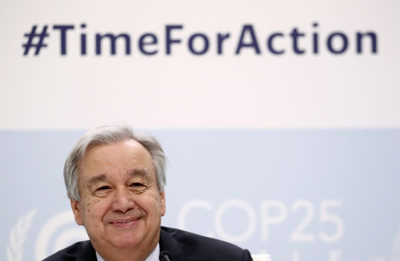 U.N. chief holds news conference on eve of climate talks in Madrid