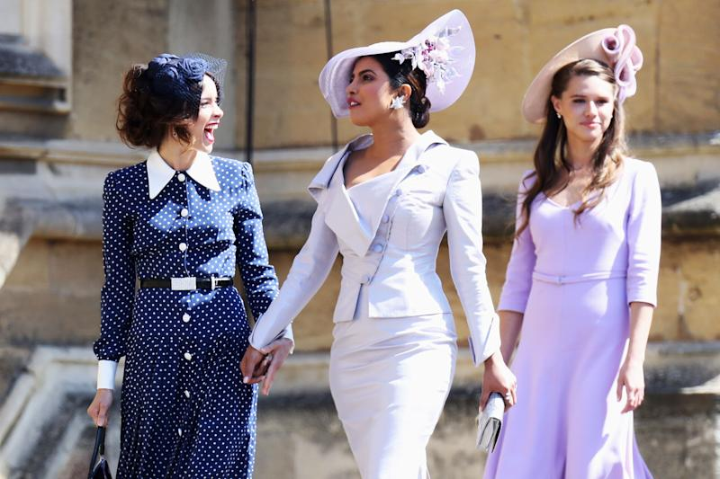 US actress Abigail Spencer and Bollywood actress Priyanka Chopra arrive for the wedding ceremony of Britain's Prince Harry, Duke of Sussex and US actress Meghan Markle at St George's Chapel, Windsor Castle, in Windsor, on May 19, 2018. (Photo by Chris Jackson / POOL / AFP) (Photo credit should read CHRIS JACKSON/AFP/Getty Images)