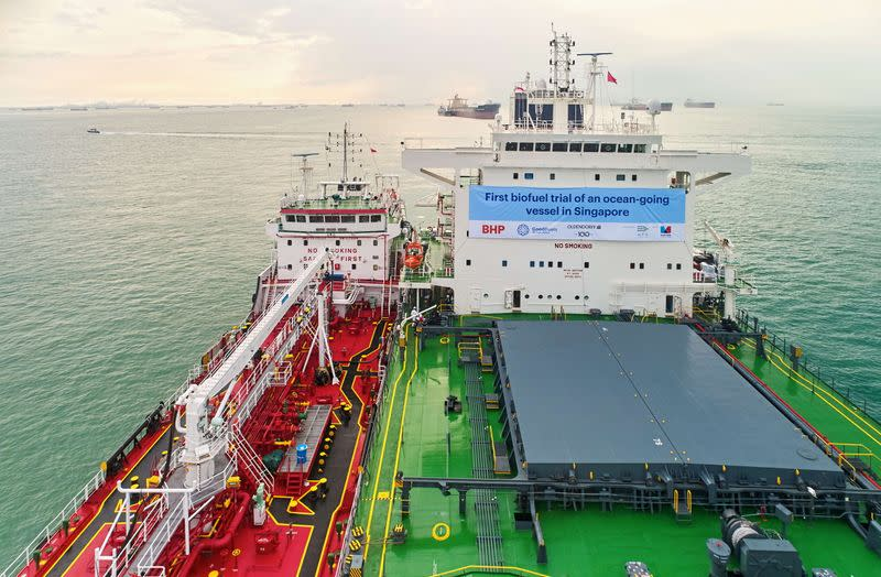 A view of the Kira Oldendorff at the time of biofuels bunkering conducted by BHP, GoodFuels and with support from the Maritime and Port Authority of Singapore (MPA) in Singapore