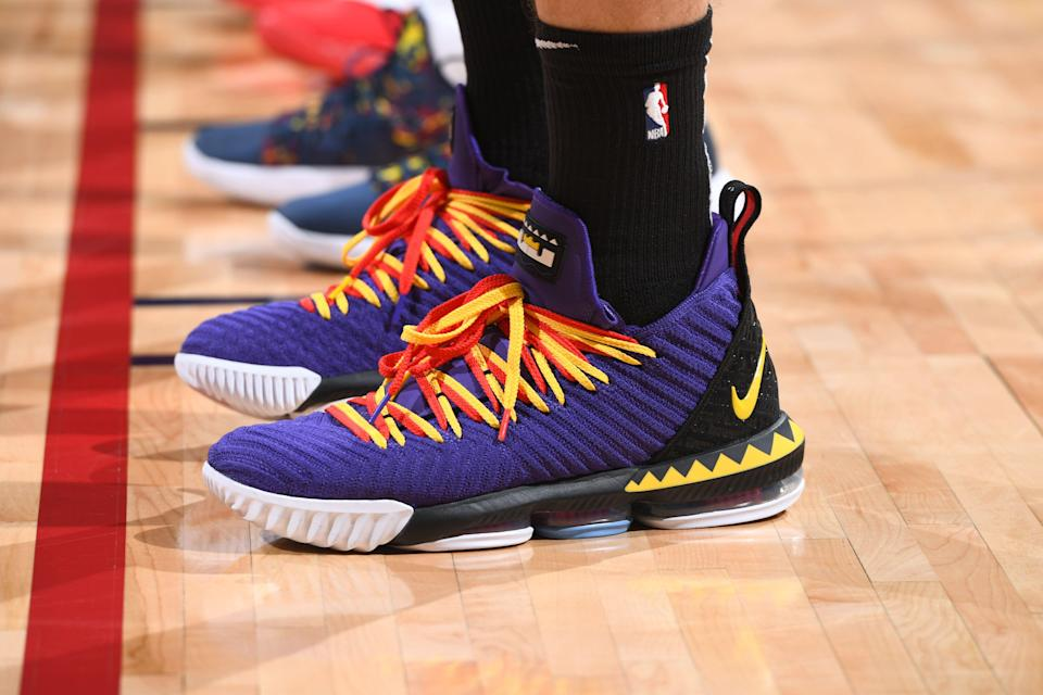 DENVER, CO - APRIL 29: The sneakers of Meyers Leonard #11 of the Portland Trail Blazers during Game One of the Western Conference Semifinals of the 2019 NBA Playoffs against the Denver Nuggets on April 29, 2019 at the Pepsi Center in Denver, Colorado. NOTE TO USER: User expressly acknowledges and agrees that, by downloading and/or using this photograph, user is consenting to the terms and conditions of the Getty Images License Agreement. Mandatory Copyright Notice: Copyright 2019 NBAE (Photo by Garrett Ellwood/NBAE via Getty Images)
