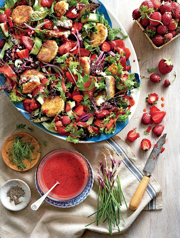 "<p>Sweet, acidic strawberries balance the creamy, savory taste of avocado in a springy, mixed greens salad.</p> <p><a href=""https://www.myrecipes.com/recipe/strawberry-salad-warm-goat-cheese-croutons"">Strawberry Salad with Warm Goat Cheese Croutons Recipe</a></p>"