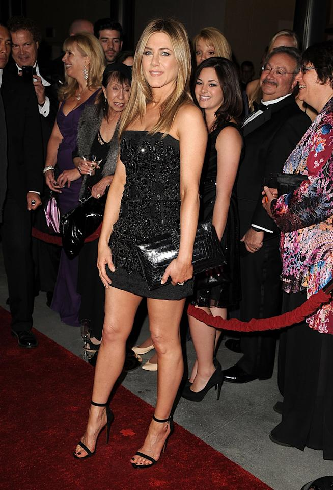 No, Jennifer Aniston, 43, is not the most exciting celebrity to watch on the red carpet, because she's usually in some variation of the same style. However, no one can argue that the actress doesn't look lovely in an LBD that hugs her tiny waist and exposes her sculpted legs. (1/28/2012)