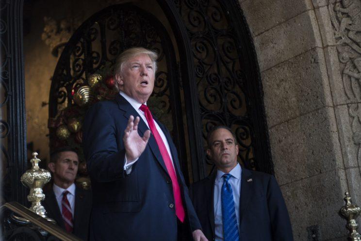 President-Elect Donald J. Trump, retired U.S. Army Lieutenant General Michael T. Flynn, and Chief of Staff Reince Priebus walk out to speak to members of the media at the Mar-a-Lago club in Palm Beach, FL on Wednesday, Dec. 21, 2016. (Photo: abin Botsford/The Washington Post via Getty Images)
