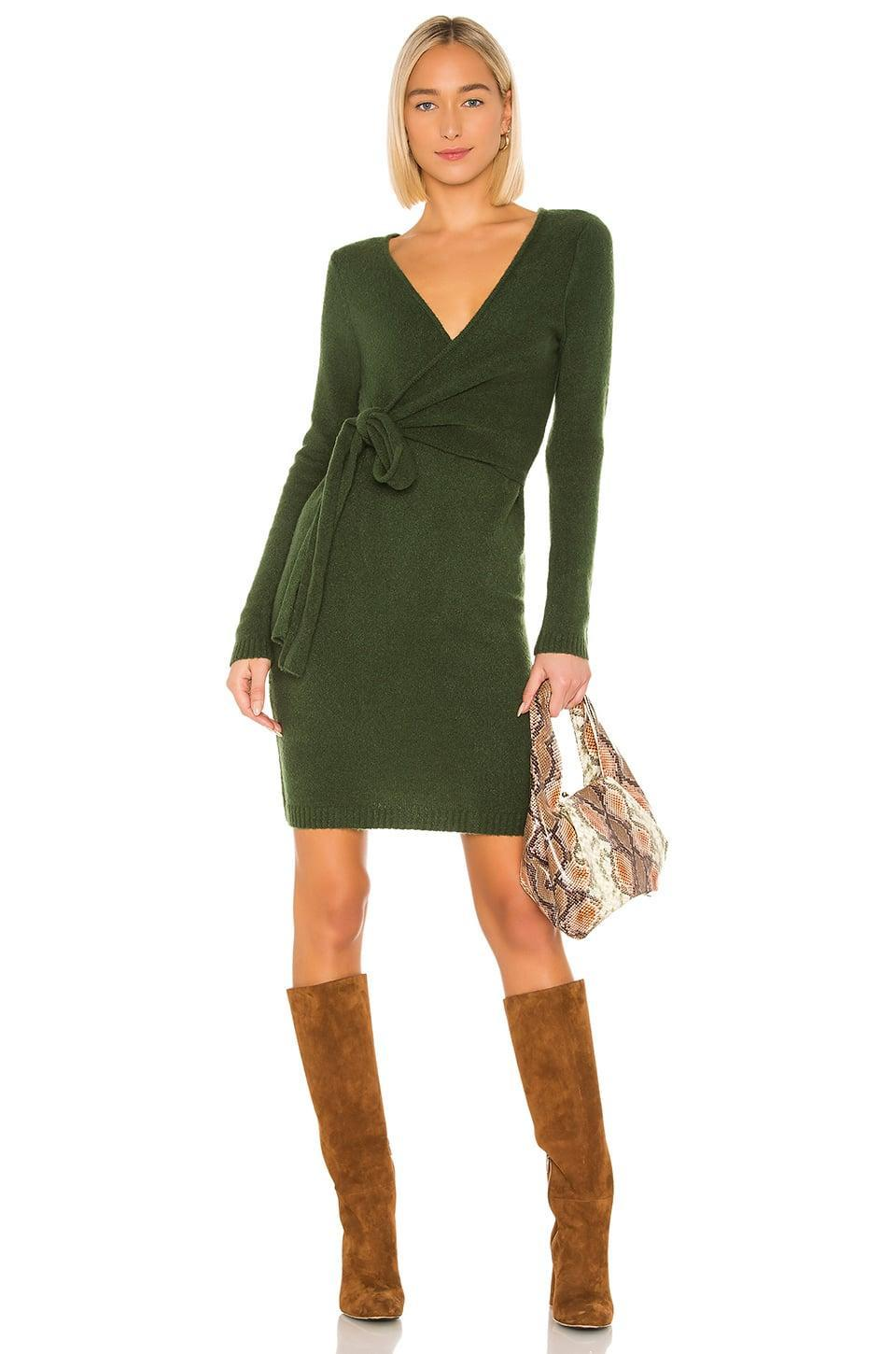 <p>The hunter green color of this <span>LPA Sean Wrap Dress</span> ($165) is great for fall.</p>