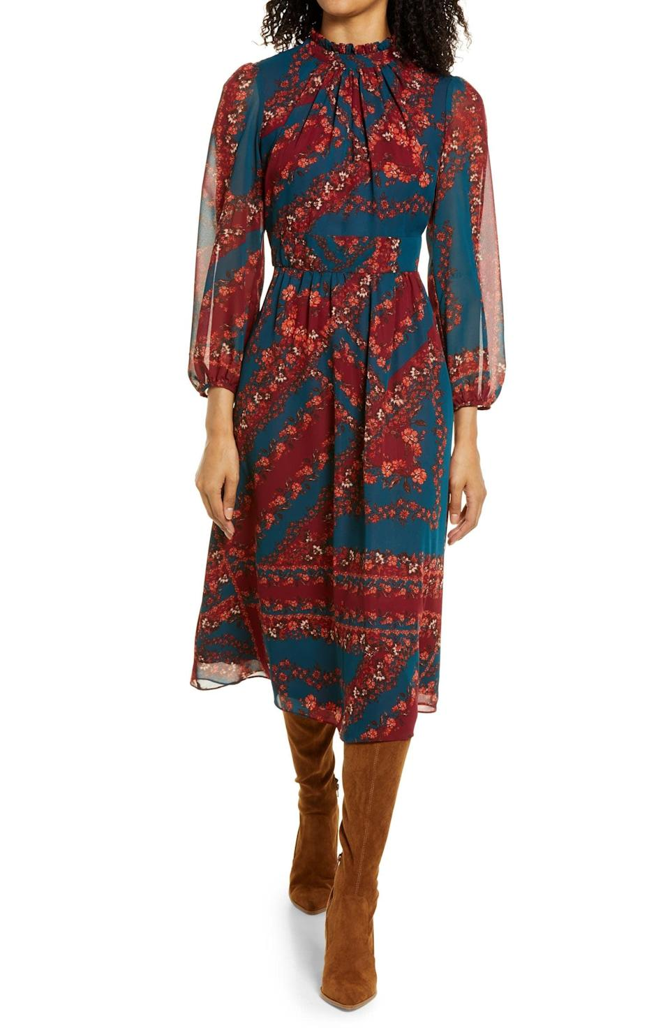 <p>This <span>Julia Jordan Floral Long-Sleeve A-Line Midi Dress</span> ($129) was so popular last year, it was brought back again. Get it before it disappears once more.</p>