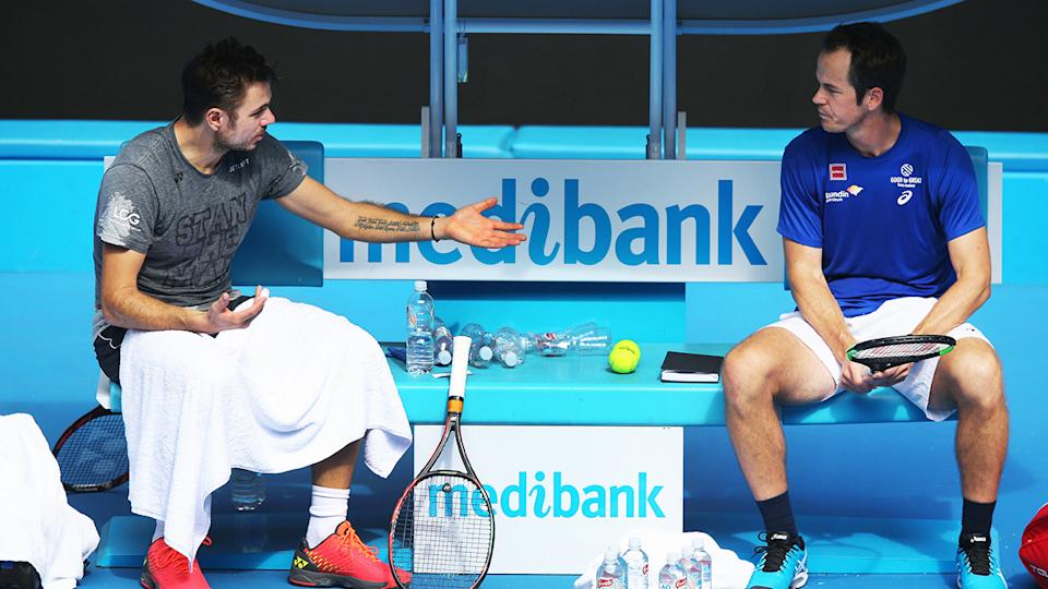 Stan Wawrinka and Magnus Norman, pictured here at the 2017 Australian Open.