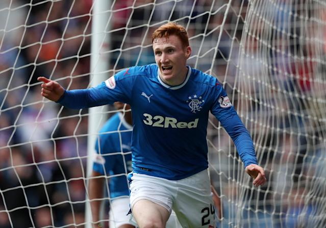 Soccer Football - Scottish Premiership - Rangers vs Kilmarnock - Ibrox, Glasgow, Britain - May 5, 2018 Rangers' David Bates celebrates scoring their first goal REUTERS/Scott Heppell