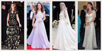 """<p class=""""body-dropcap"""">Every bride feels pressure to select the perfect wedding dress—we can only assume these expectations mount when you're marrying the heir to the British throne. For her historic wedding gown, the Duchess of Cambridge went with a British designer at a famed label—<a href=""""https://www.townandcountrymag.com/the-scene/weddings/a20517182/kate-middleton-wedding-dress/"""" rel=""""nofollow noopener"""" target=""""_blank"""" data-ylk=""""slk:Sarah Burton for Alexander McQueen"""" class=""""link rapid-noclick-resp"""">Sarah Burton for Alexander McQueen</a>. The jaw-dropping, dramatic lace dress lived up to all of the anticipation and made headlines around the world. </p><p>The Duchess of Cambridge knows that when something works, <a href=""""https://www.townandcountrymag.com/style/fashion-trends/g10344923/kate-middleton-favorite-fashion-brands-designers/"""" rel=""""nofollow noopener"""" target=""""_blank"""" data-ylk=""""slk:you stick to it"""" class=""""link rapid-noclick-resp"""">you stick to it</a>. In the ten years since her wedding, Kate has turned to the brand <a href=""""https://www.townandcountrymag.com/style/fashion-trends/news/g1633/kate-middleton-fashion/"""" rel=""""nofollow noopener"""" target=""""_blank"""" data-ylk=""""slk:again and again"""" class=""""link rapid-noclick-resp"""">again and again</a>. She's chosen a number of tailored frocks and flowing ballgowns from the label and makes the most out of these outfits, <a href=""""https://www.townandcountrymag.com/style/fashion-trends/g25620264/kate-middleton-repeat-outfits/"""" rel=""""nofollow noopener"""" target=""""_blank"""" data-ylk=""""slk:rewearing them over the years"""" class=""""link rapid-noclick-resp"""">rewearing them over the years</a>. </p><p>Below, find 20 times the Duchess of Cambridge wore McQueen. Or, shop the brand for yourself <a href=""""https://go.redirectingat.com?id=74968X1596630&url=https%3A%2F%2Fwww.saksfifthavenue.com%2Fc%2Fwomen-s-apparel%3Fq%3DAlexander%2BMcQueen%26srule%3Dfeatured_newest&sref=https%3A%2F%2Fwww.townandcountrymag.com%2Fsociety%2Ftradition%2Fg37083494%2Fkate-mi"""