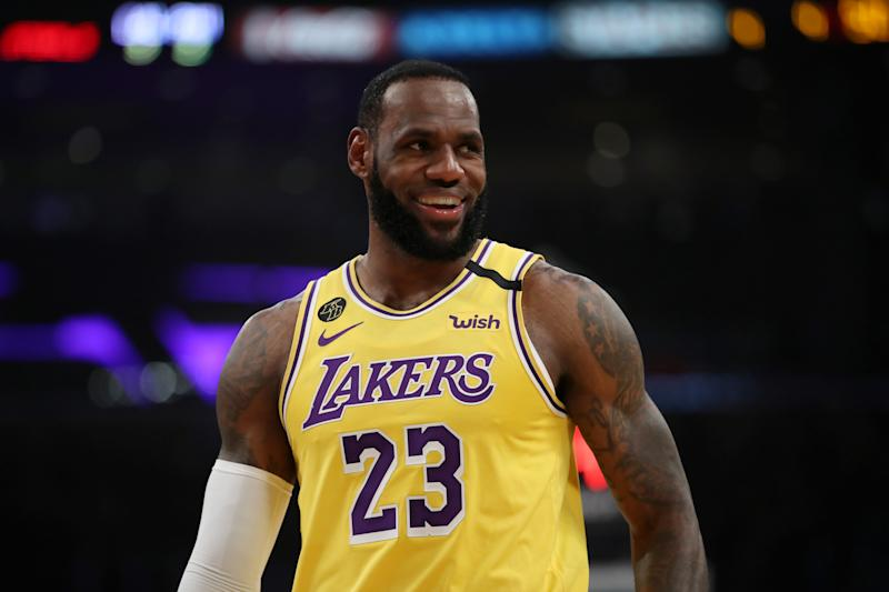LOS ANGELES, CALIFORNIA - MARCH 03: LeBron James #23 of the Los Angeles Lakers stands on the court in a game against the Philadelphia 76ers during the first half at Staples Center on March 03, 2020 in Los Angeles, California. NOTE TO USER: User expressly acknowledges and agrees that, by downloading and or using this Photograph, user is consenting to the terms and conditions of the Getty Images License Agreement. (Photo by Katelyn Mulcahy/Getty Images)
