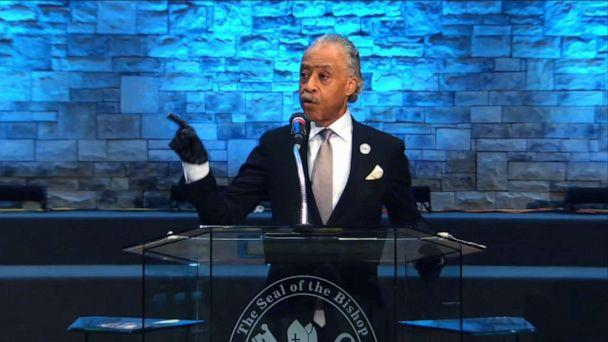 PHOTO: Rev. Al Sharpton speaks at the memorial service for Andre Hill in Columbus, Ohio, Jan. 5, 2021. (First Church of God/WSYX)