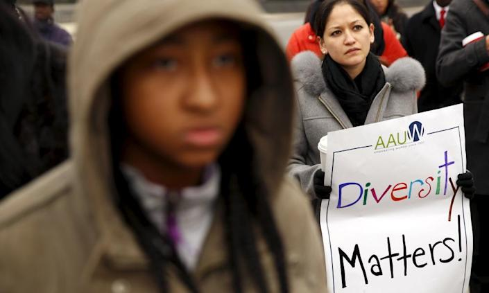 """<span class=""""element-image__caption"""">Demonstrators hold a rally at the supreme court in support of affirmative action, in Washington DC on 9 December 2015. </span> <span class=""""element-image__credit"""">Photograph: Kevin Lamarque/Reuters</span>"""