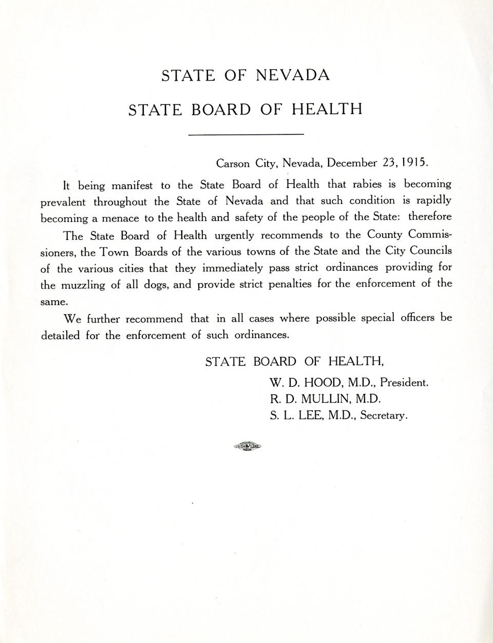 A 1915 statement from the Nevada Board of Health regarding an outbreak of rabies.