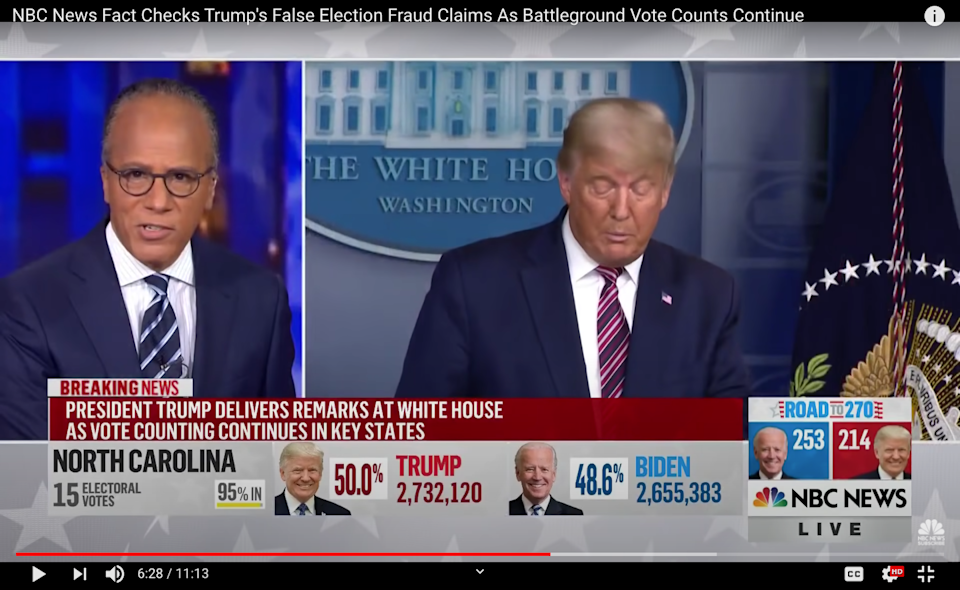 """<span class=""""caption"""">The moment Lester Holt of NBC News cut into a statement from President Donald Trump.</span> <span class=""""attribution""""><a class=""""link rapid-noclick-resp"""" href=""""https://www.youtube.com/watch?v=LZ-9R1ElhLo"""" rel=""""nofollow noopener"""" target=""""_blank"""" data-ylk=""""slk:NBC News via YouTube"""">NBC News via YouTube</a></span>"""