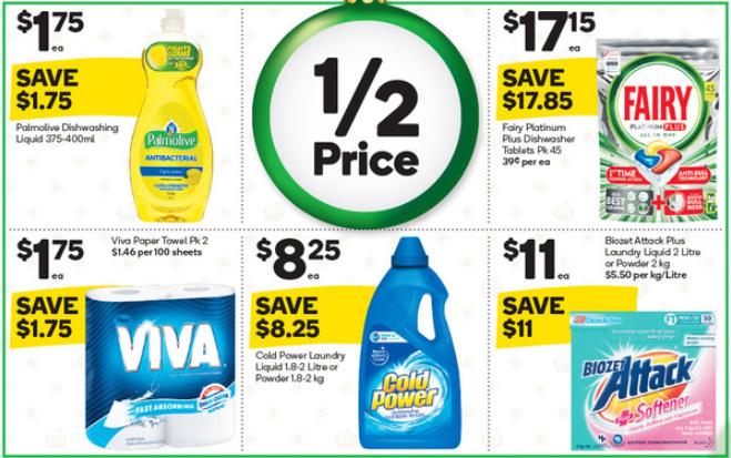 Laundry and cleaning products selling for half-price at Woolworths.