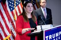 Republican National Committee chair Ronna McDaniel speaks during a press conference at the headquarters of the Republican National Committee in Washington