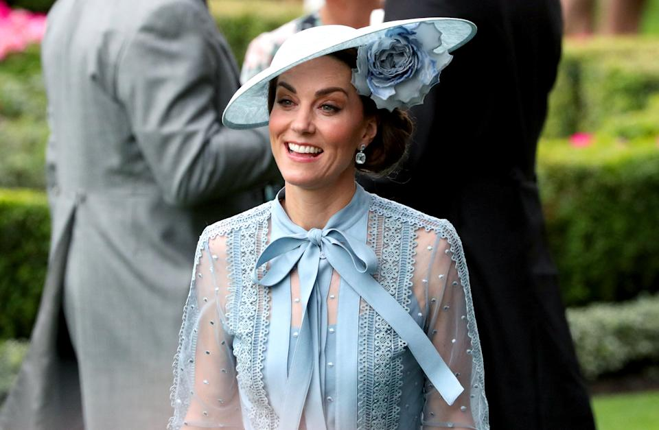 The Duchess of Cambridge chose a sheer Elie Saab ensemble for day one of Royal Ascot 2019 [Photo: Getty]