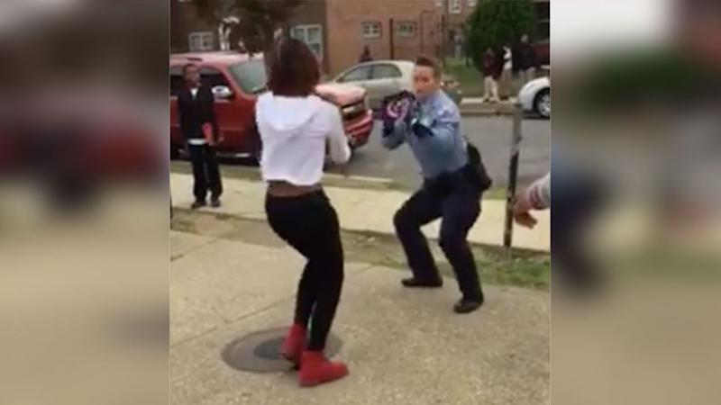 The officer and teenager can be seen 'krumping' to 'Watch Me (Whip/Nae Nae). Photo: Facebook/Adore Liyah
