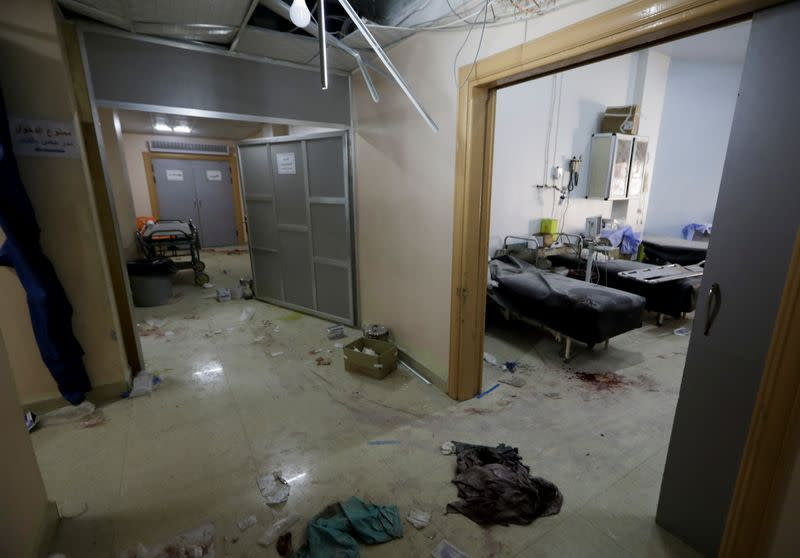 A view shows the damage at a hospital in a rebel-held town of Atareb in northwestern Syria