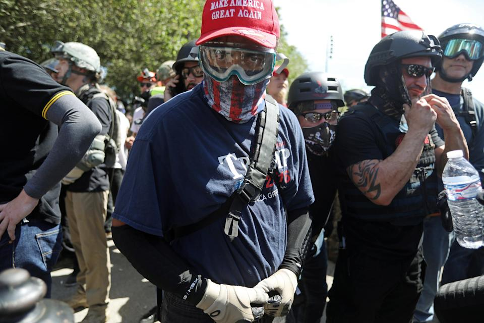 <p>Right-wing supporters of the Patriot Prayer group gather during a rally in Portland, Ore., Aug. 4, 2018. (Photo: Jim Urquhart/Reuters) </p>