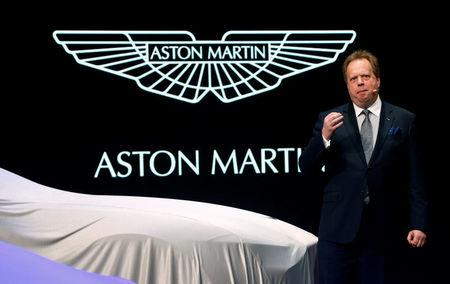 FILE PHOTO: Aston Martin Lagonda Ltd. CEO Palmer addresses media during the first press day ahead of the 85th International Motor Show in Geneva