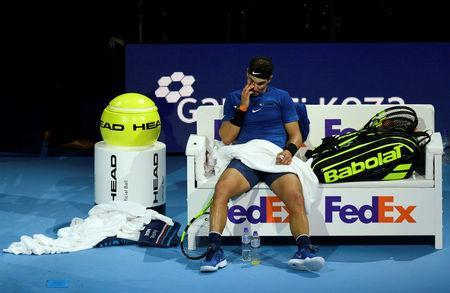 Tennis - ATP World Tour Finals - The O2 Arena, London, Britain - November 13, 2017 Spain's Rafael Nadal during his group stage match against Belgium's David Goffin Action Images via Reuters/Tony O'Brien