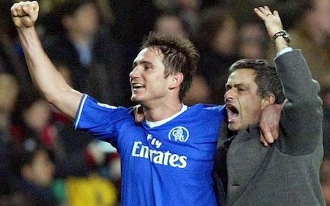 Frank Lampard celebrates with Jose Mourinho - Credit: AP
