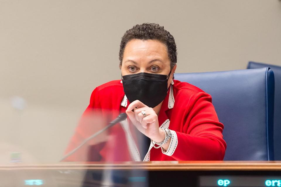Senator Karen Carter Peterson during the Senate Select Committee on Women and Children at the Louisiana State Capitol in Baton Rouge, LA.  Wednesday, March 10, 2021.