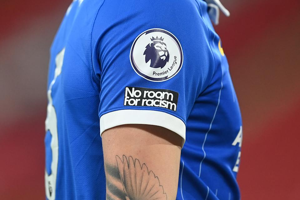 SHEFFIELD, ENGLAND - APRIL 24: Detail view of the Premier League badge and the No Room for Racism Badge during the Premier League match between Sheffield United and Brighton & Hove Albion at Bramall Lane on April 24, 2021 in Sheffield, England. Sporting stadiums around the UK remain under strict restrictions due to the Coronavirus Pandemic as Government social distancing laws prohibit fans inside venues resulting in games being played behind closed doors.  (Photo by Michael Regan/Getty Images)