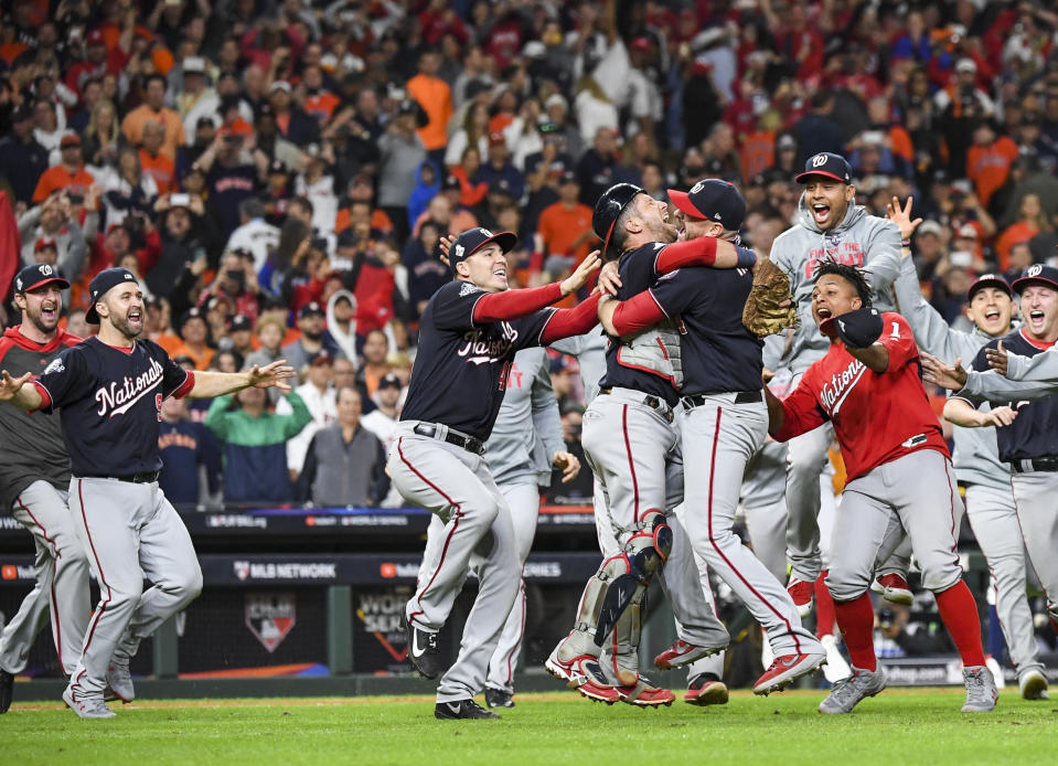 HOUSTON, TEXAS - OCTOBER 30: The Washington Nationals celebrate beating the Houston Astros 6-2 in Game 7 of the World Series at Minute Maid Park on Wednesday, October 30, 2019. (Photo by Jonathan Newton /The Washington Post via Getty Images)