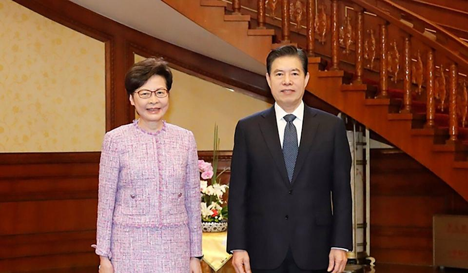 Carrie Lam and commerce minister Zhong Shan were said to have discussed Hong Kong's economy and cross-border trade. Photo: Handout