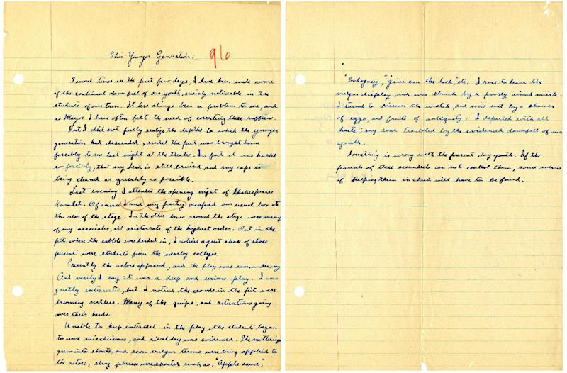 "This image provided by the Ronald Reagan Presidential Library shows a two-page essay written by Ronald Reagan titled ""This Younger Generation"" written on Oct. 27, 1927, during his senior year in high school. In years gone by, penmanship helped distinguish the literate from the illiterate. But now, in the digital age, people are increasingly communicating by computer and smartphone. No handwritten signature necessary. Cursive writing is not being taught in many schools as some 45 states have adopted Common Core standards, which have eliminated the teaching of cursive writing.(AP Photo/Ronald Reagan Presidential Library)"