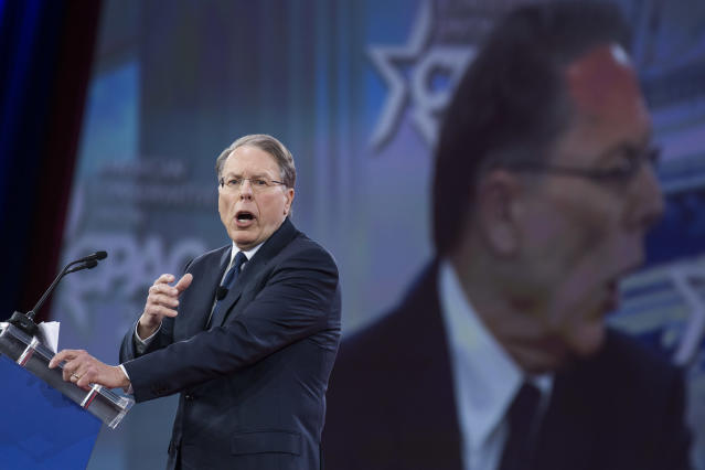 <p>Wayne LaPierre, CEO of the National Rifle Association, addresses the Conservative Political Action Conference at the Gaylord National Resort in Oxon Hill, Md., on Feb. 22, 2018. (Photo: Tom Williams/CQ Roll Call/Getty Images) </p>