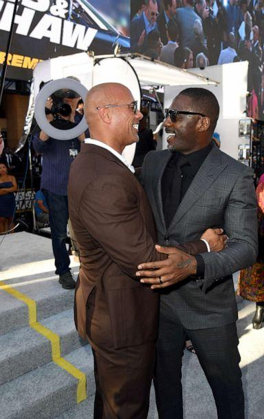 PHOTO:Dwayne Johnson and Idris Elba arrives at the premiere of Universal Pictures' 'Fast & Furious Presents: Hobbs & Shaw' at Dolby Theatre, July 13, 2019, in Hollywood, Calif. (Kevin Winter/Getty Images)