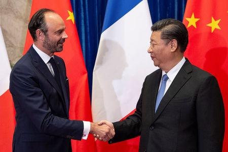 China's President Xi Jinping meets France's Prime Minister Edouard Philippe at the Great Hall of the People in Beijing, China