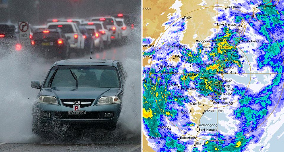 A car driving in Sydney's Northern Beaches amid flooding is pictured on the left. A Bureau of Meteorology radar shows rainfall over NSW on Sunday morning is pictured on the right.
