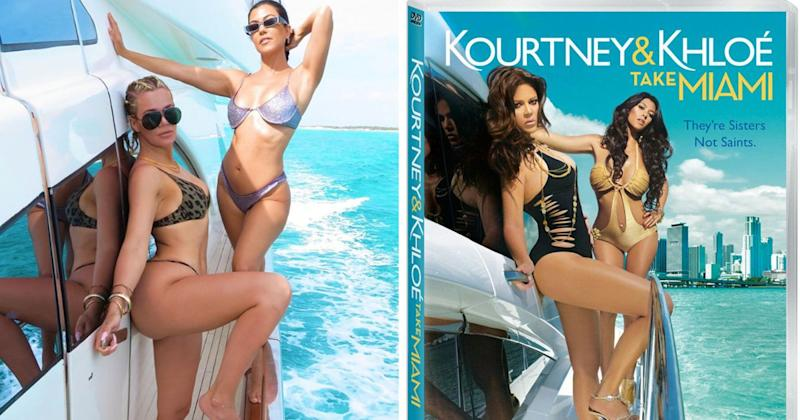 b5e3c86109307 Kourtney and Khloé Kardashian Wear Sexy Bikinis to Recreate Kourtney &  Khloé Take Miami Poster