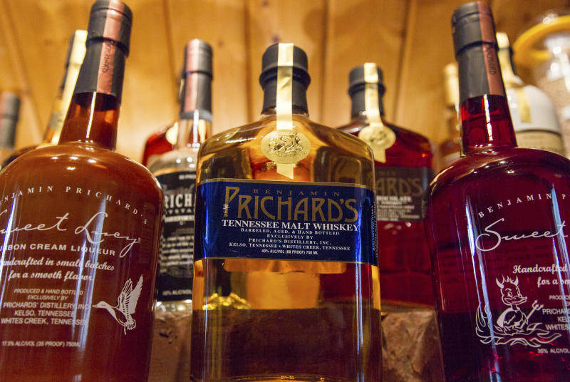FILE - In this March 19, 2015 file photo, bottles of spirits are on display at the Prichard's Distillery in Nashville, Tenn. A spirits industry trade group says the tariff-induced hangover for American whiskey producers became more painful in late 2018. The Distilled Spirits Council said Thursday, March 20, 2019 that a downturn in American whiskey exports accelerated at the end of last year, especially in the European Union _ the industry's biggest overseas market. (AP Photo/Erik Schelzig)