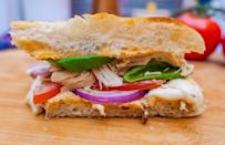 """<p>A caprese salad in sandwich form — what's not to love? This sandwich inspired by Panera is piled high with rotisserie chicken, fresh basil, fresh mozzarella and red onion, but it's the addition of chipotle mayo that really brings this dish to life.</p> <p><a href=""""https://www.thedailymeal.com/recipes/copycat-panera-frontega-chicken-panini-recipe?referrer=yahoo&category=beauty_food&include_utm=1&utm_medium=referral&utm_source=yahoo&utm_campaign=feed"""" rel=""""nofollow noopener"""" target=""""_blank"""" data-ylk=""""slk:For the Copycat Panera Frontega Chicken Panini recipe, click here."""" class=""""link rapid-noclick-resp"""">For the Copycat Panera Frontega Chicken Panini recipe, click here.</a></p>"""